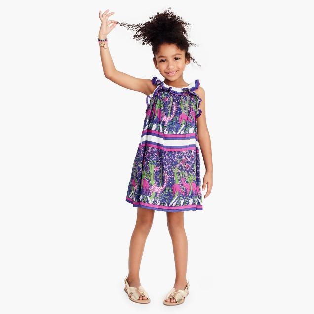 Girls' ruffly dress in menagerie print