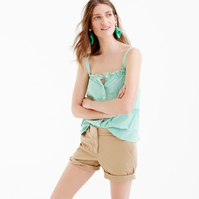 Button-front ruffle top