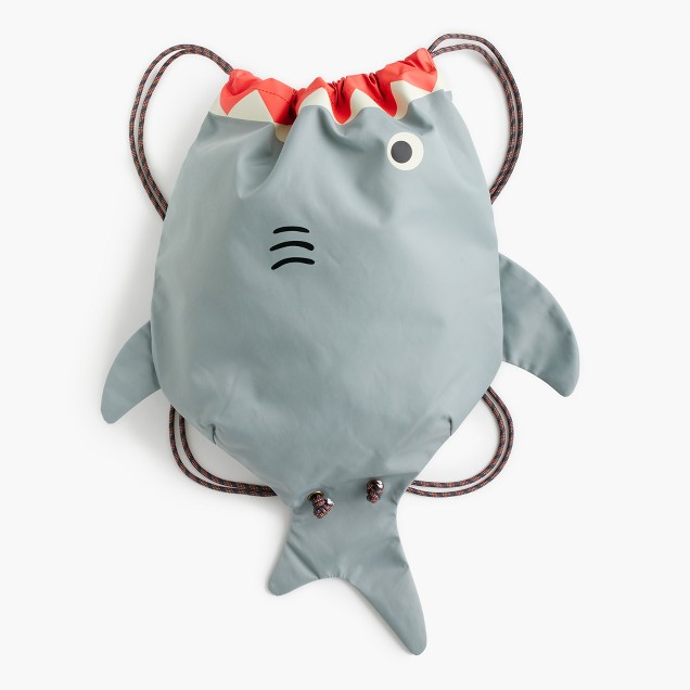 Kids' drawstring shark bag