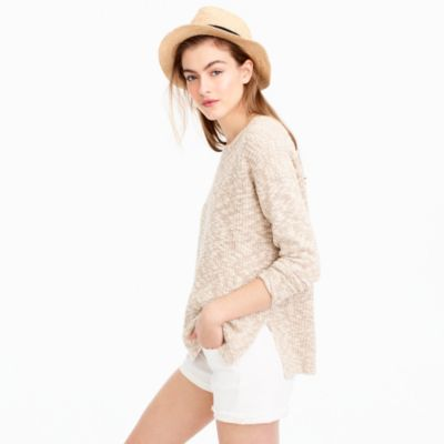 Oversized marled sweater in cotton-linen