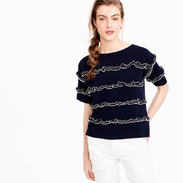 Ruffle boatneck sweater