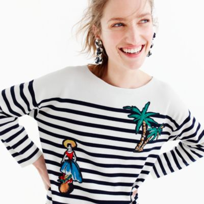 Striped cotton sweater with cabana patches