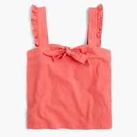 Bow top with embroidered trim