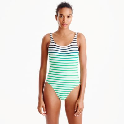 Scoopback one-piece swimsuit in ombré stripe