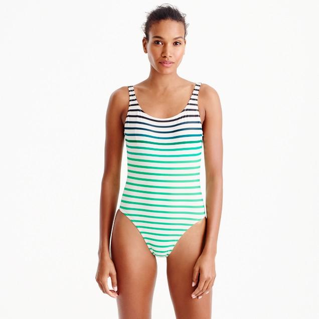 Scoopback one-piece swimsuit in ombré stripe