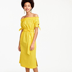 Petite off-the-shoulder tie-waist dress