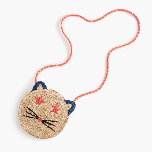 Girls' woven straw cat bag