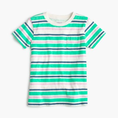 Boys' neon striped pocket T-shirt