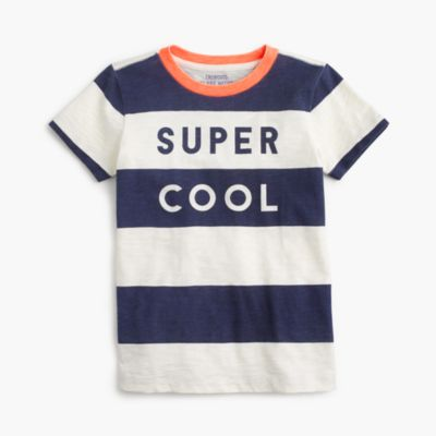 "Boys' ""super cool"" striped T-shirt"