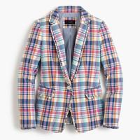 Pink vintage plaid Regent blazer with ruffle trim