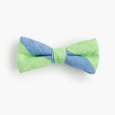 Boys' striped linen-cotton bow tie