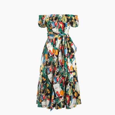 Off-the-shoulder ruffle-hem dress in postcard print