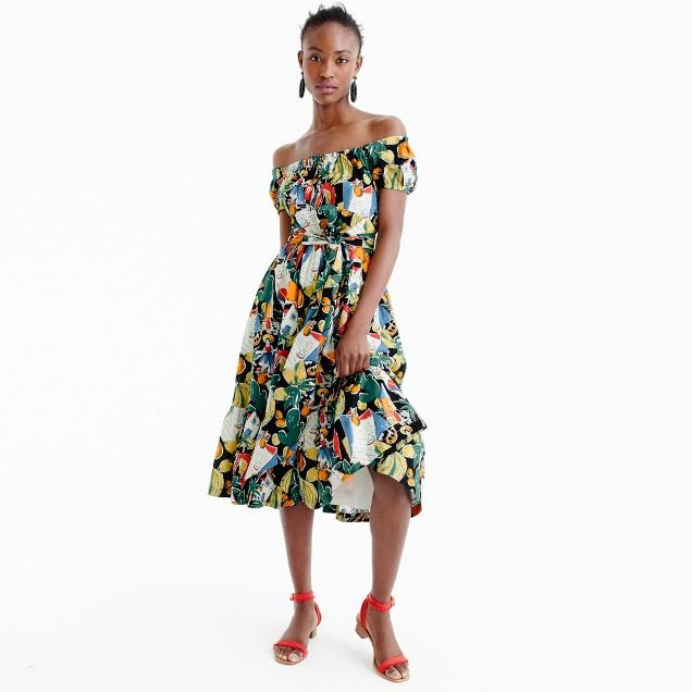 Off-the-shoulder ruffle-hem dress in postcard print