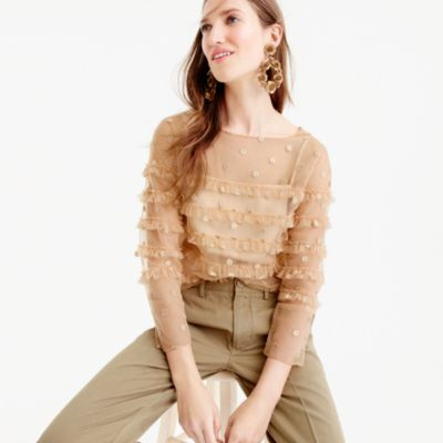 Collection tulle top with embroidered polka dots