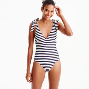 Shoulder-tie one-piece swimsuit in classic stripe
