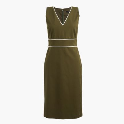 Piped dress in stretch cotton