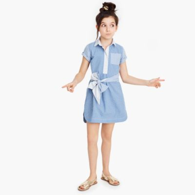 Girls' tie-waist dress in mash-up