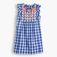Girls' ruffly dress in embroidered floral gingham