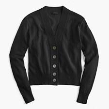 Cropped lightweight cardigan sweater - BLACK