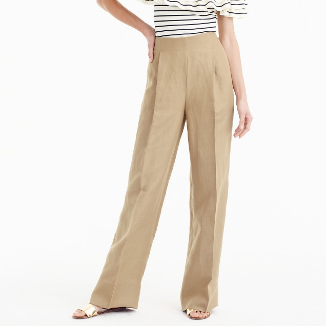 Collection high-waisted linen-Tencel pant