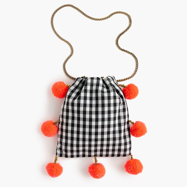 Gaia™ for J.Crew pom-pom bag in black-and-white gingham