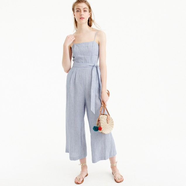 Striped linen jumpsuit with tie