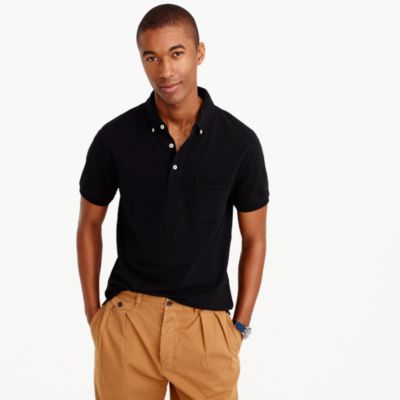 Button-down collar piqué polo shirt