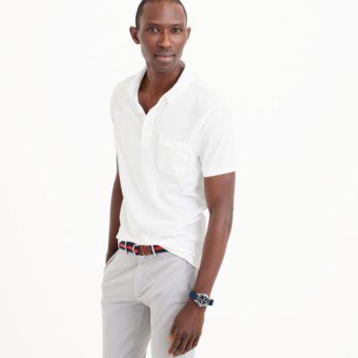 Button-down collar piqué polo shirt
