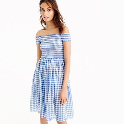 Smocked off-the-shoulder gingham beach dress