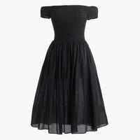 Smocked off-the-shoulder beach dress