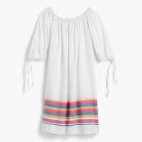 Off-the-shoulder beach dress with rainbow stripes