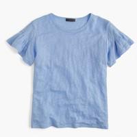Linen flutter-sleeve T-shirt