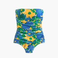 Ruched bandeau one-piece in morning floral