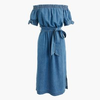 Off-the-shoulder chambray dress with tie waist