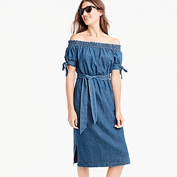 Petite off-the-shoulder chambray dress with tie waist