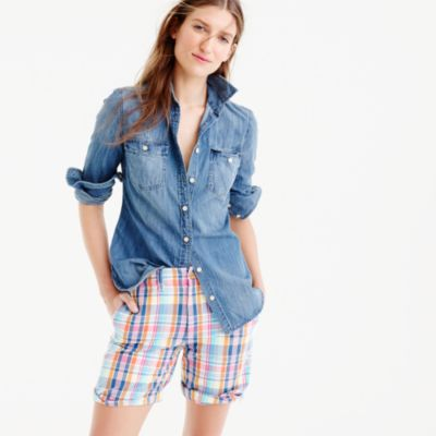 Boyfriend short in pink vintage plaid