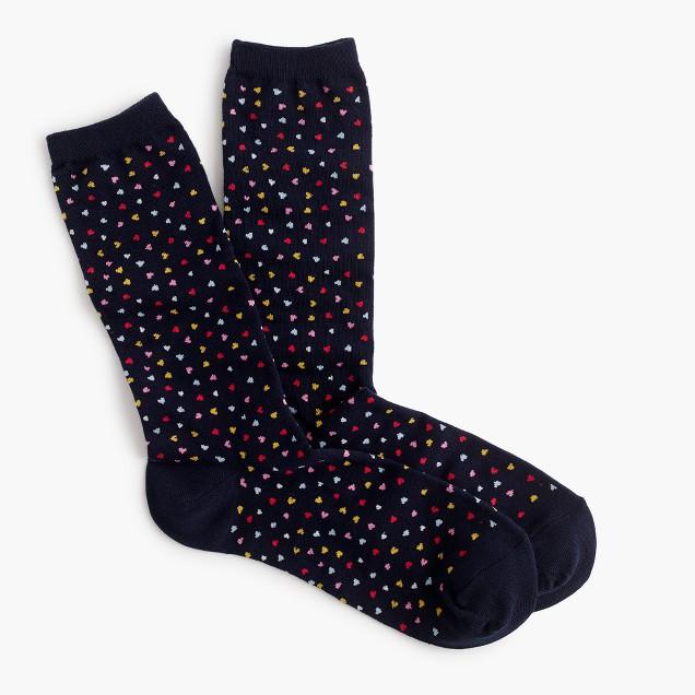 Trouser socks in heart print