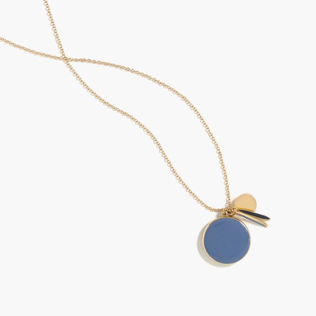 Enamel locket charm necklace