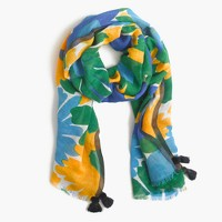 Morning floral scarf with tassels