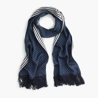 Silk scarf in polka dot and stripe