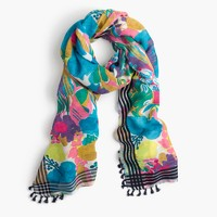 Seaside floral scarf with tassels