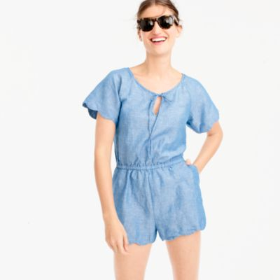 Scalloped cotton-linen romper
