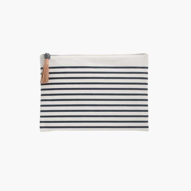 Striped water-resistant bag