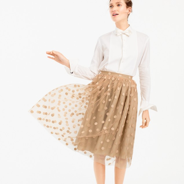 Collection embroidered-dot tulle skirt
