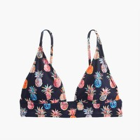 Deep V-neck French bikini top in Ratti® painted pineapple
