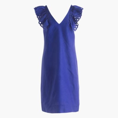 Ruffle-shoulder sheath dress