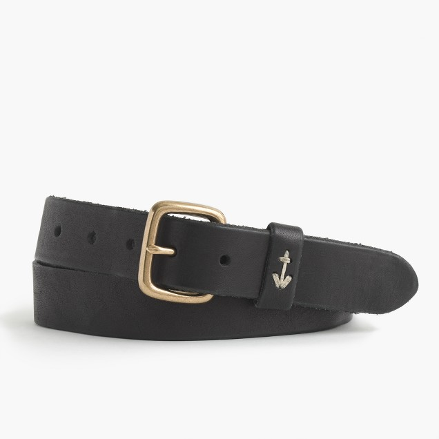 Vintage leather belt with anchor