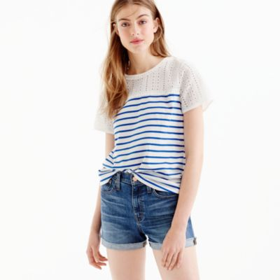 Eyelet striped T-shirt