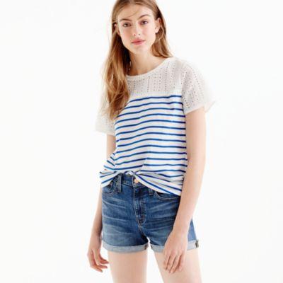 Eyelet striped T-shirt