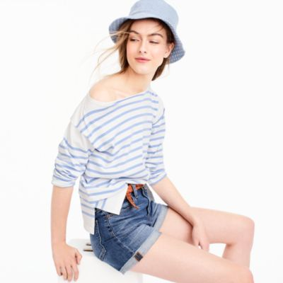 Placed stripe boatneck T-shirt